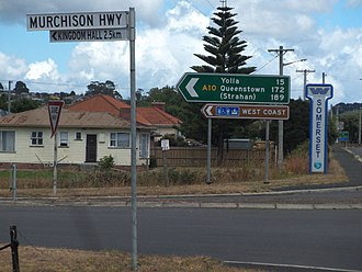 Murchison Highway - Northern end of the Murchison Highway in Somerset.