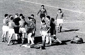 "Players fighting at the 1962 FIFA World Cup game named ""The Battle of Santiago"""