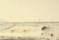 Bathing scene, Lahaina, Maui, watercolor, by James Gay Sawkins.jpg