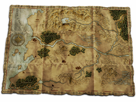 Overworld map from the video game The Battle for Wesnoth . Battle for wesnoth httt world map.png