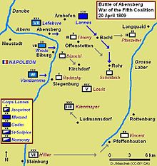 Map of the Battle of Abensberg
