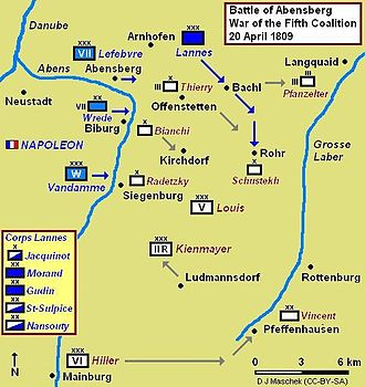VIII Corps (Grande Armée) - Battle of Abensberg map