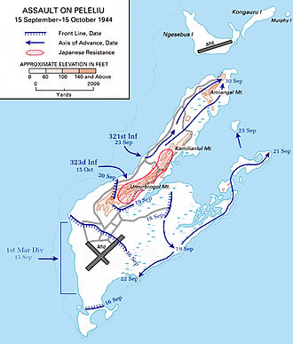 Battle of Peleliu - Routes of Allied landings on Peleliu, 15 September 1944