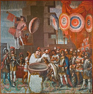 Ixtlilxochitl II - Baptism of Ixtlilxochitl by José Vivar y Valderrama, 18th century.