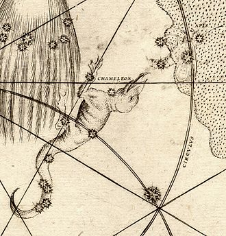 Musca - Musca (as Apis) can be seen in the upper right of this extract from Bayer's Uranometria of 1603