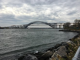 Panamax - Navigational clearance under the Bayonne Bridge in New York harbor is being increased to accommodate New Panamax ships. The lower roadway will be removed once the new upper roadway is operational.