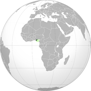 Republic of Benin (1967) - Location of the Republic of Benin (green) next to Biafra (light green) and in the larger African context
