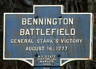 Battle of Bennington - Historic Marker marking the Bennington Battlefield Park
