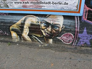 Gollum - A graffiti art depiction of Gollum on the East Side Gallery of the Berlin Wall (2008)