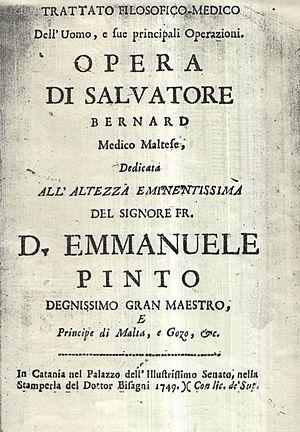 Saviour Bernard - Saviour Bernard's Trattato Filosofico-Medico dell'Uomo of 1749
