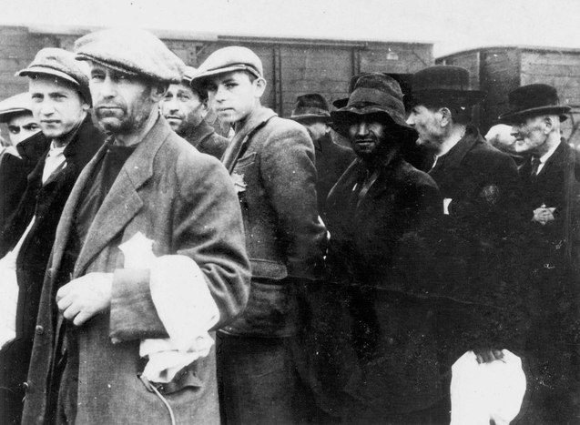 Birkenau Men on the platform
