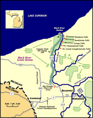 Black River National Forest Scenic Byway - Image: Black River map
