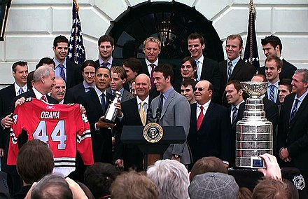Obama with Jonathan Toews and the Stanley Cup champion Chicago Blackhawks, 2010 BlackhawksWhiteHouse2010.jpg