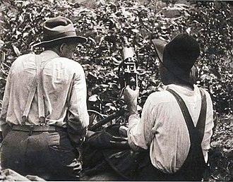 Battle of Blair Mountain - Two union coal miners sitting in a sniper's nest with a machine gun.