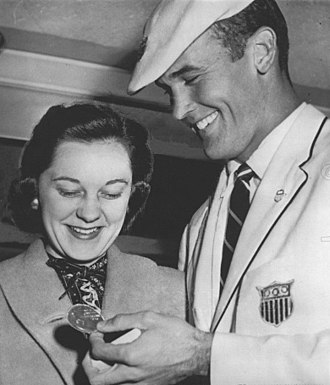 Bobby Morrow - Morrow with wife in 1956