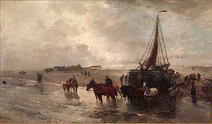 Gregor von Bochmann - Launching a Fishing Boat in Holland (1888)