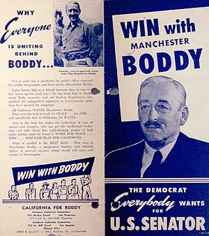 United States Senate election in California, 1950 - Flyer for the Boddy campaign