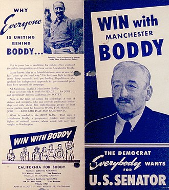Manchester Boddy - Campaign flyer for Manchester Boddy for Senate campaign.