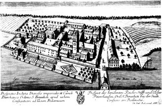 Petershausen (Constance) - Petershausen Abbey, with residential buildings of the upper village to the upper right of the bridge and the lower village of the left of the monastery gardens