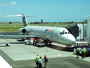 Townsville Airport - Jetstar Boeing 717 at Townsville Airport, Inaugural Jetstar flight to Townsville