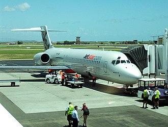 Townsville Airport - Jetstar Boeing 717 at Townsville Airport, Inaugural Jetstar flight to Townsville
