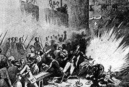 Dibujo reproduciendo el momento de la explosión de la bomba en la procesión delCorpus Cristide 1896.