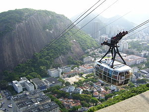 Urca - In the foreground, the Sugar Loaf cable car. In the background, commercial buildings.