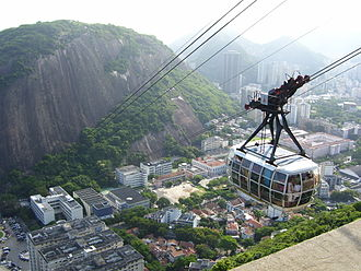 Morro da Babilônia - Sugarloaf cable car and with Morro da Babilônia behind.