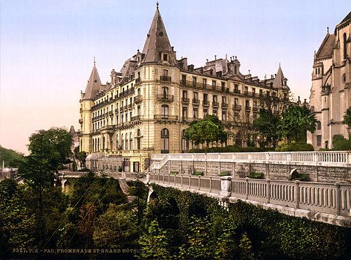 Boulevard des Pyrénées and Grand Hotel Gassion, Pau, Aquitaine, France, ca. 1895