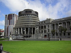 English: Bowen House, the Beehive and Parliame...