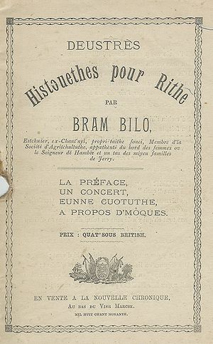 Langues d'oïl - The Oïl languages have literary traditions, as for example seen in this 19th-century collection of Jèrriais short stories
