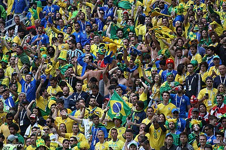 Brazil supporters at the 2018 FIFA World Cup in Russia Brazil fans Russia 2018.jpg