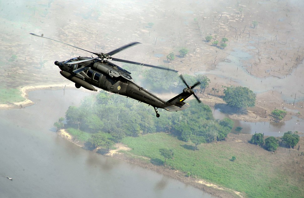 Brazilian military helicopter underway, 2012