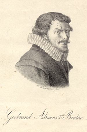 Gerbrand Bredero - Portrait of Bredero by H.W. Caspari after an engraving by Hessel Gerritsz