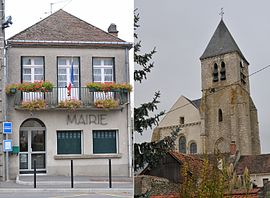 The town hall and church in Briarres-sur-Essonne
