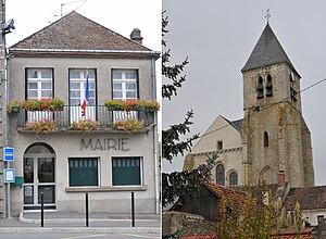 Briarres-sur-Essonne - The town hall and church in Briarres-sur-Essonne