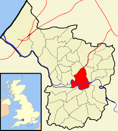 Map showing Lawrence Hill ward near the centre of the city