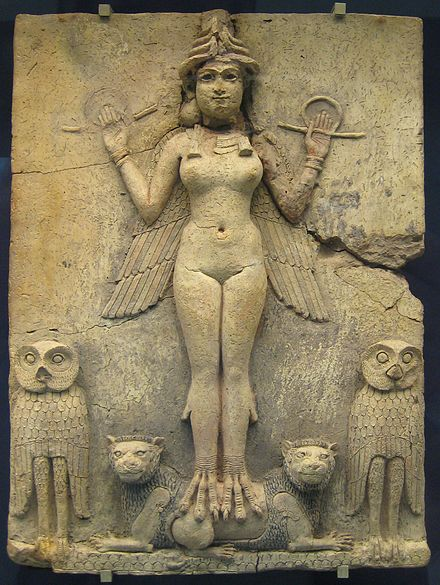 "The ""Burney Relief,"" which is believed to represent either Ishtar or her older sister Ereshkigal (c. 19th or 18th century BC) British Museum Queen of the Night.jpg"