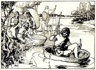 Coracle - Britons with coracles - from Cassell's History of England, Vol. I
