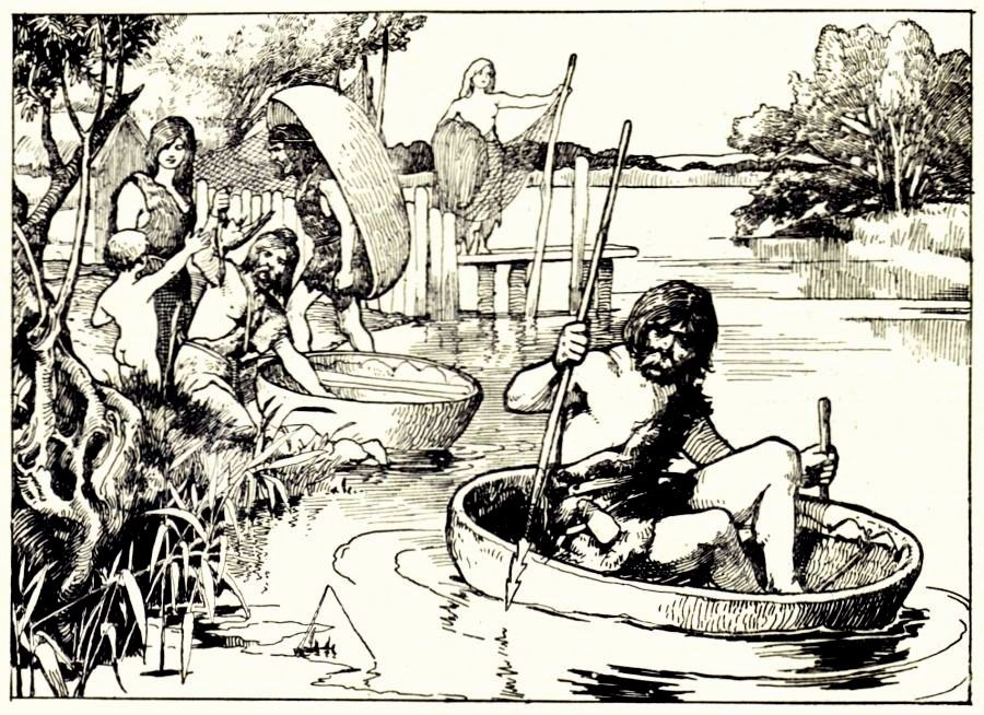Britons with coracles - from Cassell%27s History of England, Vol. I - anonymous author and artists