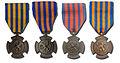 Bronzen Leeuw 1944 versies vlnr Garrard, Rijksmunt oud, Begeer, Rijksmunt nieuw.jpg