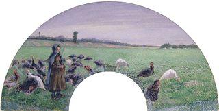 Girl in Field with Turkeys