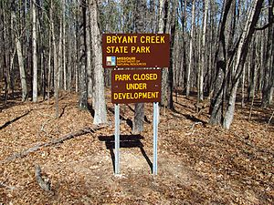 Bryant Creek State Park - Sign at entrance to Bryant Creek State Park.