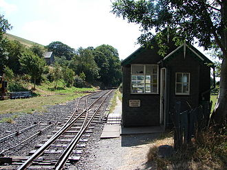 Brynglas railway station - The passing loop at Brynglas, looking west