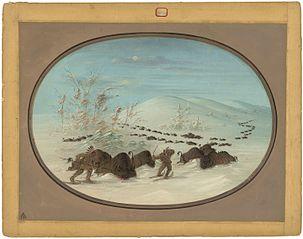 Buffalo Chase in the Snow Drifts - Ojibbeway