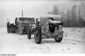 Canon de 155 L Modele 1917 Schneider - Image: Bundesarchiv Bild 101I 725 0192 25, Russland, Rückzug deutscher Truppen, Kanone