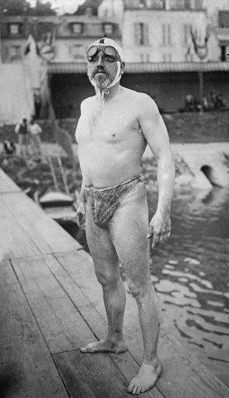 History of competitive swimwear - Thomas William Burgess wearing his motorcycle goggles in 1911