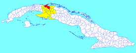 Cárdenas municipality (red) within Matanzas Province (yellow) and Cuba