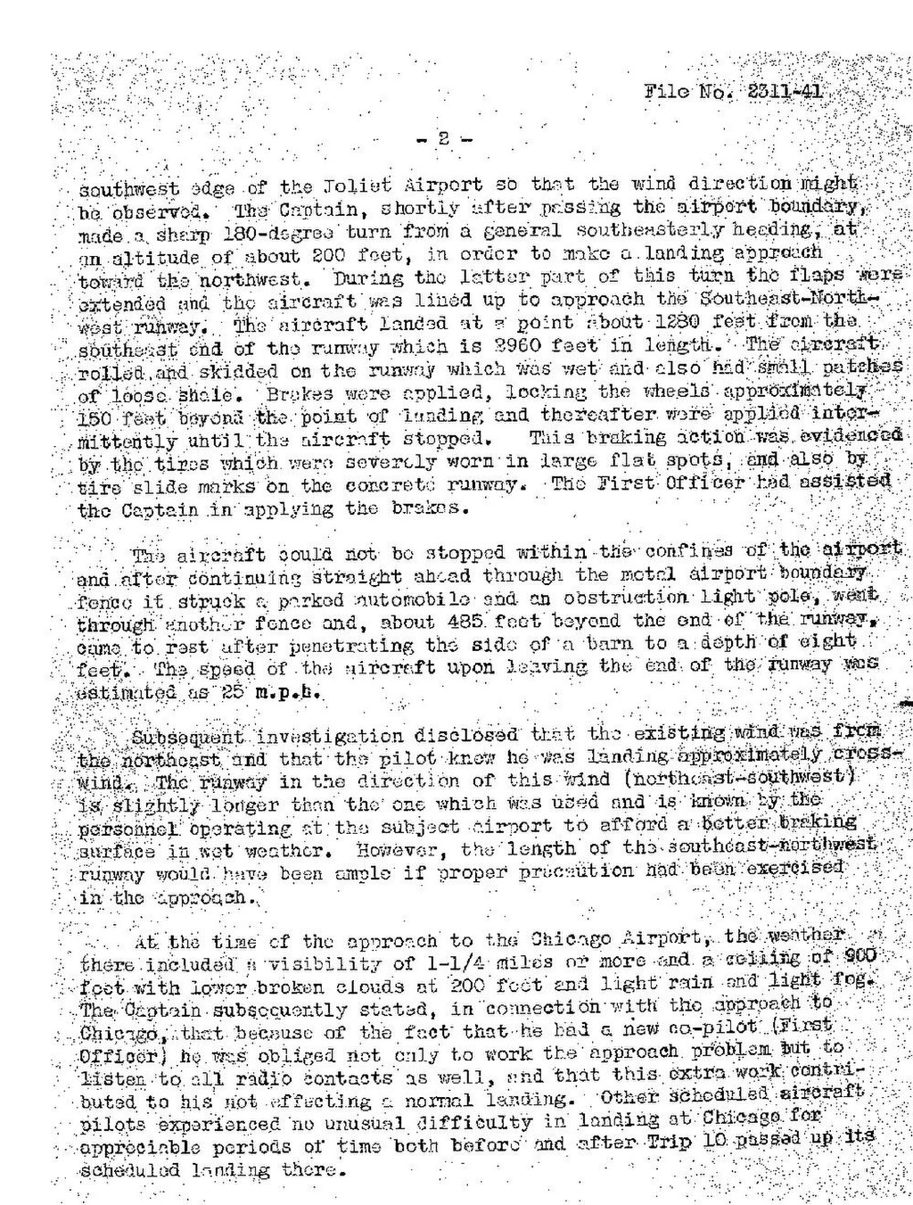 page cab accident report chicago and southern airlines flight 10