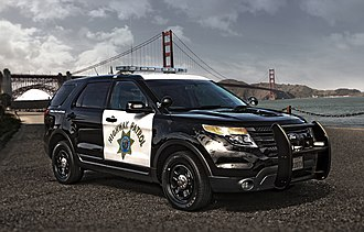Police car - A CHP Ford Police Interceptor Utility Vehicle.  This is one of the many vehicle models replacing the discontinued Ford Crown Victoria Police Interceptor after 2013 in many American Police Departments.
